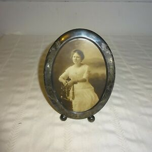 Antique Sterling Silver Oval Picture Frame Needs Polishing Victorian 7 High