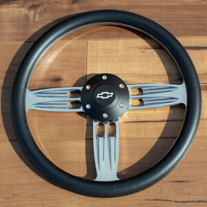 14 Inch Polished Chevy Steering Wheel With Black Grip And Horn Button 6 Hole