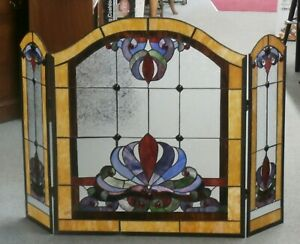 Vintage Original Stained Glass Fireplace Screen 34 5 X 50