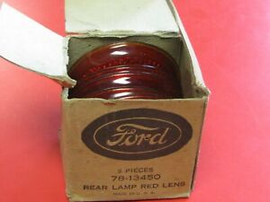 Vintage 1937 Ford Red Tail Light Lenses Nos