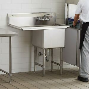 1 Compartment Stainless Steel Commercial Nsf Prep Sink With Left Drainboard