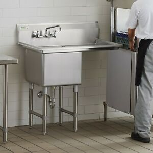 38 1 2 Stainless Steel Commercial Nsf Prep Sink With Right Drainboard