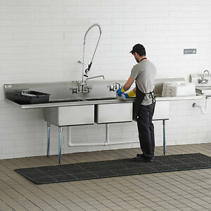 121 3 compartment Stainless Steel Commercial Pot Pan Sink With 2 Drainboards
