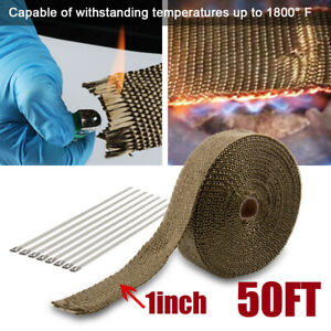 1 X 50 Ft Titanium Manifold Exhaust Wrap Header Pipe Heat Insulation Tape Roll