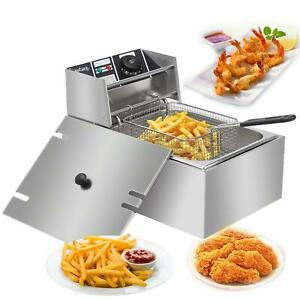 2500w 6l Electric Deep Fryer Commercial Stainless Steel With Frying Basket