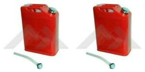 Pack Of 2 Red Metal Jerry Can With Spout Fits Jeep Wrangler Cj Yj Tj Lg Jk Jl