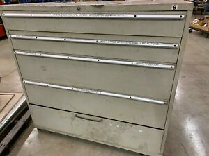 Used Stanley Vidmar Style 5 Drawer Cabinet Tool Parts Storage 54 Tall 56 Wide