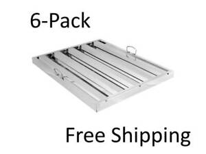 6 pack 25 h X 20 w X 2 t Stainless Steel Exhaust Hood Grease Filters