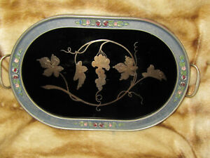 Vtg Antique Decorative Reverse Painted Wood Tray Picture Grape Vine