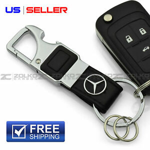Led Flashlight Keychain Key Fob Chain Ring Black Leather For Mercedes Benz