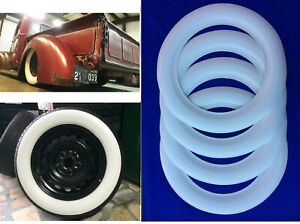 3 Wide Tire Whitewalls 70mm Hot Rod Rat Street Rod Custom For 15 Tire Pack Of4