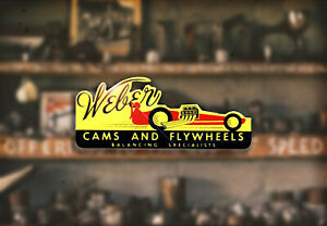 Weber Flywheels Hot Rod Water Slide Decal Ford Flathead Rat Racing Dry Lake Gas