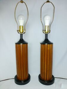 Pair 2 Mid Century Modern Vintage Gruvwood Lamps Walnut Black Metal Eames Era