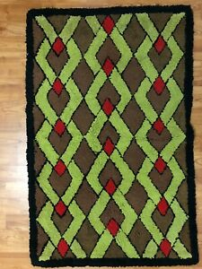 Vintage Antique Geometric Design American Hand Hooked Rug In 26 5 X 41 5