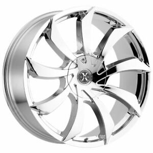 4 new 24 Xcess X01 Wheels 24x9 5 5x115 5x120 15 Chrome Rims
