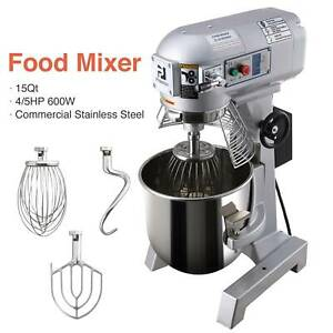 15qt Commercial Dough Food Mixer Bakery Gear Driven 3 Speed Stainless Steel