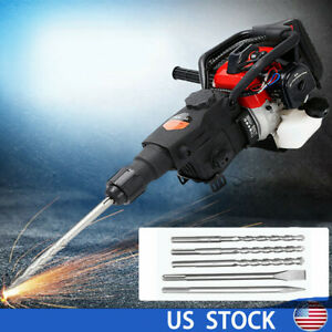 2 stroke Gas Demolition Jack Hammer Concrete Breaker Punch Drill Chisels Us