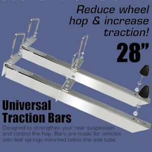 Universal Traction Bars 28 Length Pair Chrome Plated Steel 20470 Heavy Duty