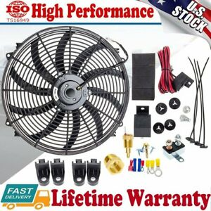 16 Inch Electric Radiator Cooling Fan 12v 3000cfm Relay Thermostat Switch Kit