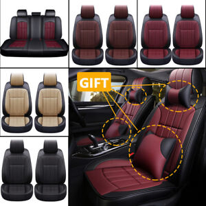 Deluxe Leather Car Seat Cover Full Set Protector Zipper Adjustable Fit Universal