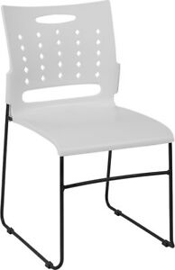 Heavy Duty Sled Base White Plastic Office Guest Chair Waiting Room Chair