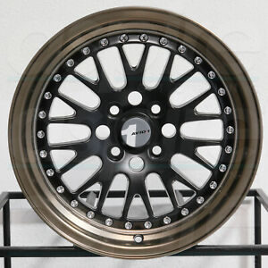 4 new 15 Avid1 Av12 Av 12 Wheels 15x8 4x100 25 Matte Black Bronze Lip Rims