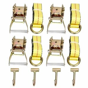 12x Combo Lasso Wheel Lift Straps 2 ratchets J Finger Hooks Tow Truck Tie Down