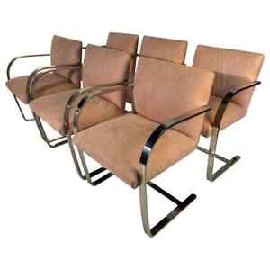 6 Mies Van Der Rohe Style Cantilever Brno Dining Chairs Ca 1970 Italy