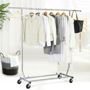 Heavy Duty Commercial Garment Rack Rolling Collapsible Clothing Shelf Storage