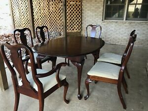 Vintage Antique Mahogany Dining Table 6 Chairs Furniture Nice Quality Queen Anne