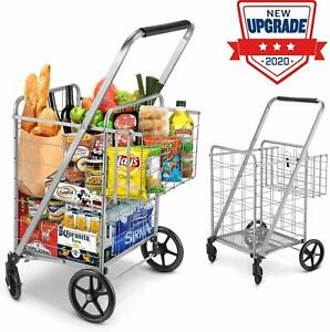 Shopping Cart Jumbo Double Basket Grocery Cart Folding Laundry Bag Secure Basket