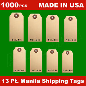 1000 Manila 13 Pt Inventory Shipping Hang Label Price Tags Size 1 2 3 4 5 6 7 8