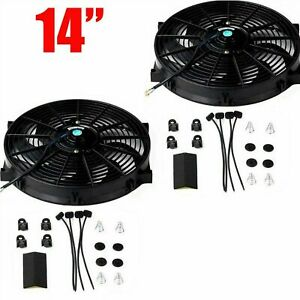 2x 14 Inch Universal Slim Fan Push Pull Electric Radiator Cooling Mount Kit 12v