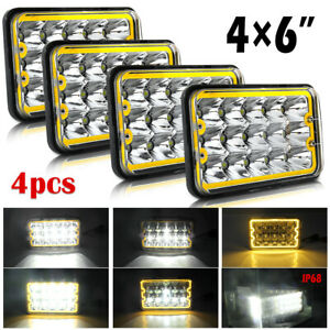 4pcs 4x6 Led Headlight High low Amber Drl Fog Light For Freightliner Fld120 112