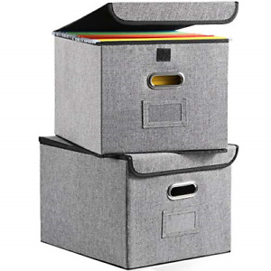 Collapsible File Organizer Boxes 2 pack Decorative Linen Storage Hanging With