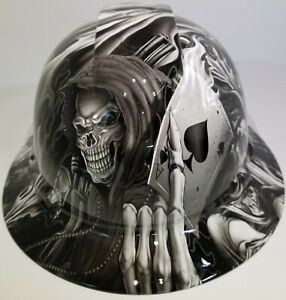 Full Brim Hard Hat Custom Hydro Dipped New Black And White Ace Of Skulls