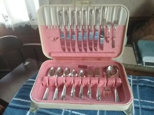 Flatware 54 Pc Pink Box Art Deco Crosby Silver Plate Box Is By Community