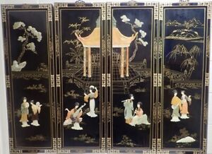 Set 4 Vintage Lacquer Wood Panels W Mother Of Pearl Geishas Pagoda 36x12