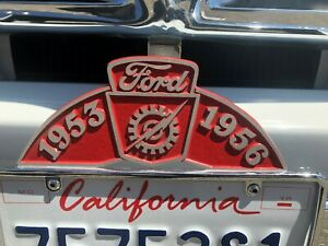 53 56 Ford F 100 License Plate Topper Cast Aluminum Red Background As Shown