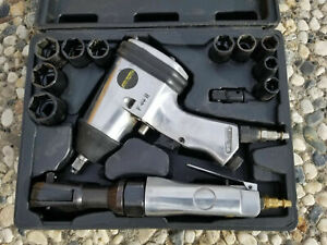 Central Pneumatic 1 2 Air Impact Wrench And 3 8 Ratchet Set Complete