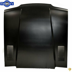 87 93 Mustang 2 Extended Cowl Induction Style Hood Stamped Vent Louvers Steel