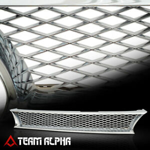Glossy Chrome Classic Mesh Front Bumper Grille Grill Fits 93 97 Toyota Corolla
