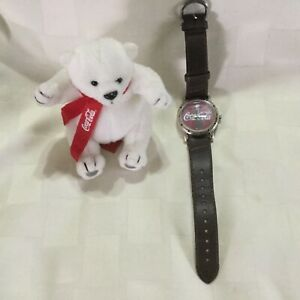 Coca Cola Watch WORKS Brown with Plush Bear 2002  A1