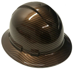Hydro Dipped Hard Hat Ridgeline Full Brim Copper Metalic Sport Carbon Fiber