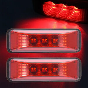 2xred 3 9 Side Marker Light Idenfitication Clearence Led Light Sealed Trailer