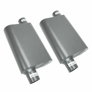 2pc Chambered Performance Race Offset 2 5 Inlet 2 5 outlet Mufflers Weld on