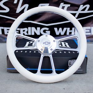 14 Billet Steering Wheel Adapter For Chevy 69 94 White Wrap And Horn Button