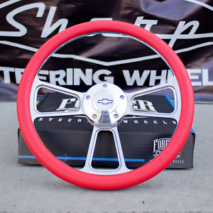 14 Billet Steering Wheel For Chevy Gm Ford Dodge Red Wrap And Horn Button