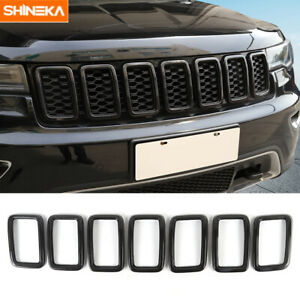 7pcs Front Grille Inserts Grill Ring Cover Trim For Jeep Grand Cherokee 2017 19