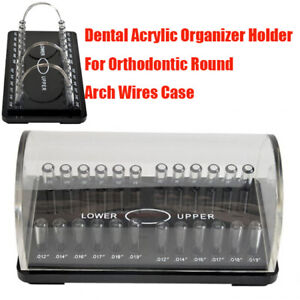 Dental Orthodontic Upper Lower Round Arch Wire Organizer Holder Case Box Acrylic